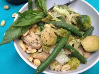 Green Bean, Ginger, Cabbage Stir-Fry with Turkey and Peanuts