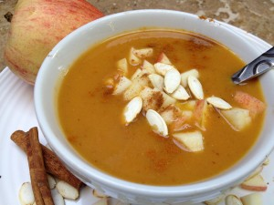 Pumpkin Soup with Apple Cran-Relish