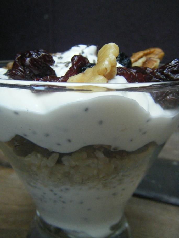 Greek Yogurt Parfait with Brown Rice, Chia Seeds, Nuts, and Fruit
