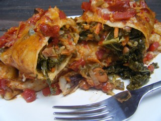 Kale, Zucchini, and Pinto Bean Enchiladas
