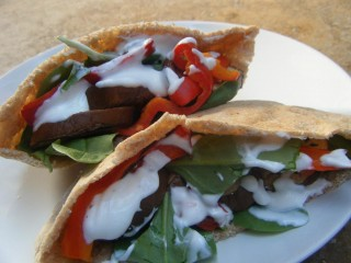 Grilled Eggplant Pitas with Garlic Greek Yogurt