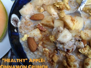 Healthy apple and cinnamon crunch oatmeal