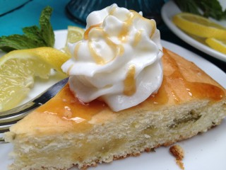 Lemon-Mint Cake with Honey Drizzle & Whipped Topping