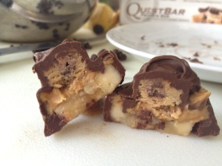Chocolate Protein Cookie Dough Bites with Banana and Peanut Butter