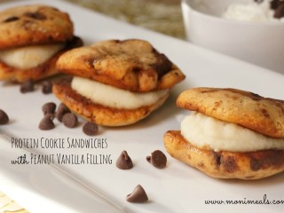 Protein Cookie Sandwiches with Peanut Butter Vanilla Filling
