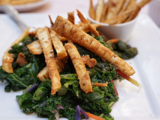 Sautéed Kale and Swiss Chard Salad with Parsnips Fries