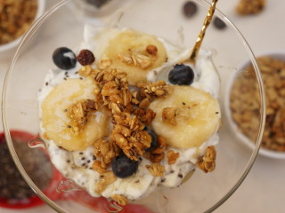 Healthy Granola Protein Parfait with Chia Seeds and Fruit