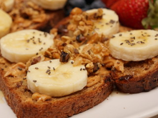 Ezekiel Toast with Sunflower Seed Butter, Banana, and Chia Seeds