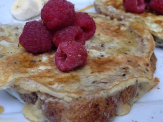 Protein Vanilla French Toast with Raspberries