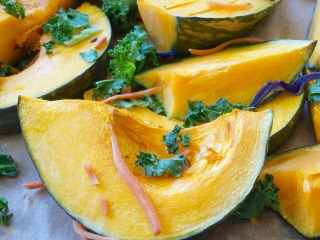 Roasted Kabocha Squash with Kale Chips