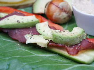 Collard Green Wraps with Hummus, Avocado, Cucumber and Bacon