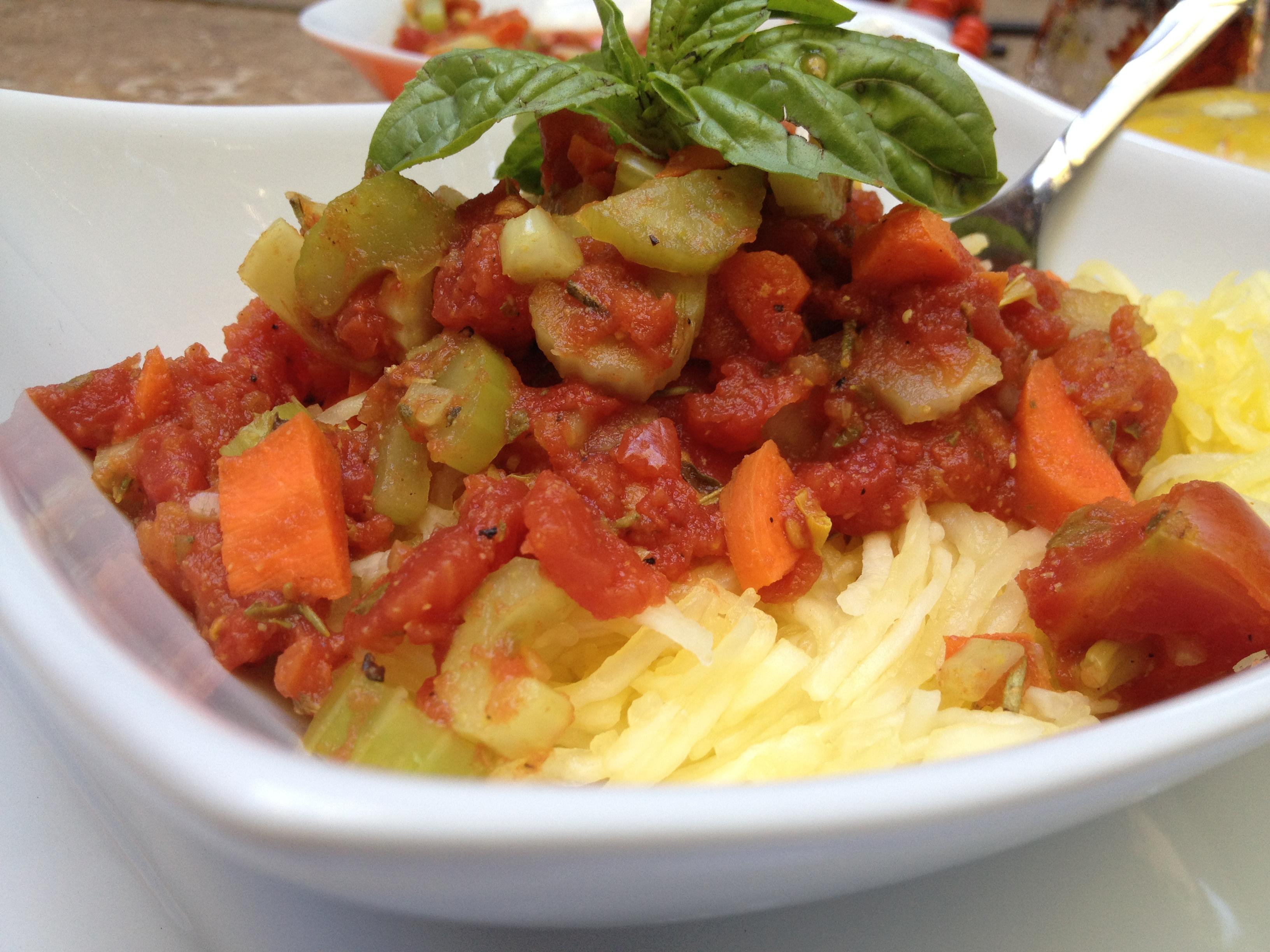 Homemade Tomato Spaghetti Squash Meal
