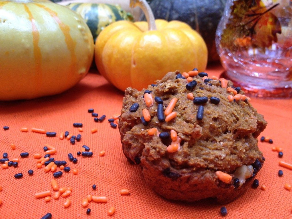 Healthy Halloween Pumpkin Muffins