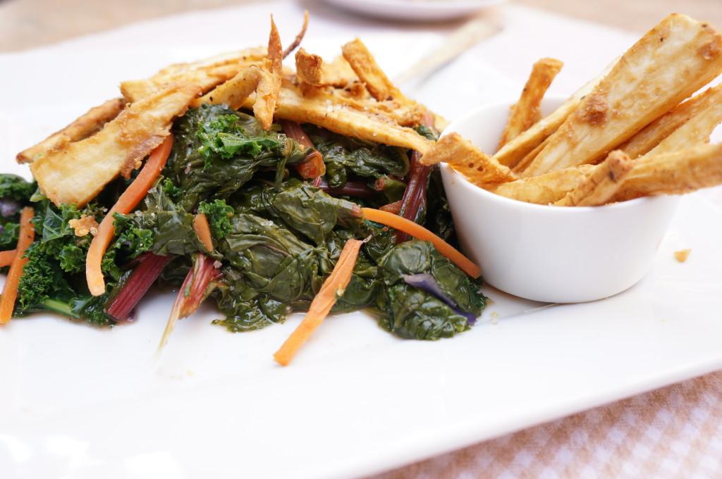 Kale Salad with Parsnip Fries